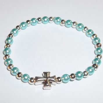 Cross Infant Children's Baby Pastel Green Pearl & Tibetan Silver Beaded Keepsake Stretch Bracelet (fits  3mo-6mo)