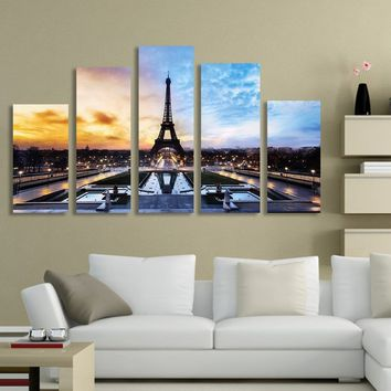Large Eiffel Tower Paris Pictures Canvas Print Painting Wall Art Home Decor 5Pcs/set Not Framed