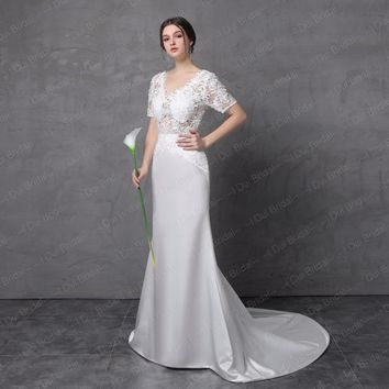 Short Sleeve V Neck Lace Sheath Wedding Dresses Low Back Satin Lace Bridal Gown with Belt