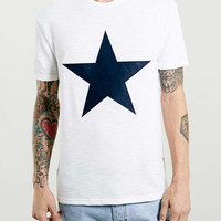 LTD Off White Star Pattern T-Shirt - Topman