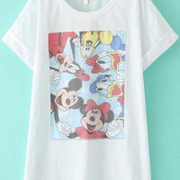 Folded Short Sleeve Cartoon Character Printed Shirt Dress
