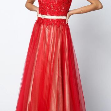Enchanting Red A Line Gown Tank Strap V Neck Tulle/Satin