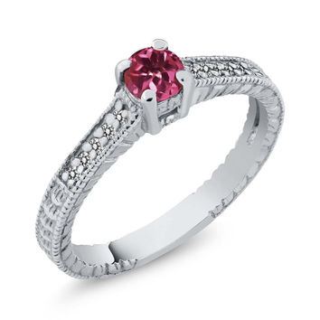 Pink Tourmaline White Diamond 14K White Gold Engagement Ring