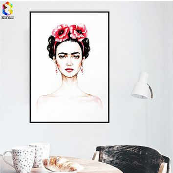 Modern Art Canvas Print Poster Frida Kahlo Portrait Wall Decor Canvas Painting Wall Picture for Living Room