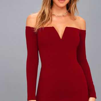 Over the Swoon Wine Red Off-the-Shoulder Bodycon Dress