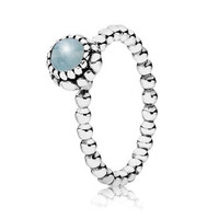 PANDORA Aquamarine March Birthday Bloom Stackable Ring
