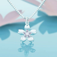 925 Sterling-silver-jewelry Cherry Blossoms Flowers Choker Statement Necklace Women Sterling Silver Jewelry-0411