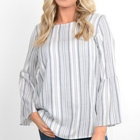 White & Navy Striped Bell Sleeve Blouse