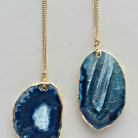 24K Gold Plated Blue Agate Necklace