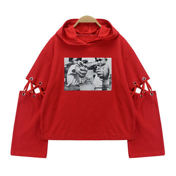Long Sleeve with Lace-up Detail Hooded Sweatshirt