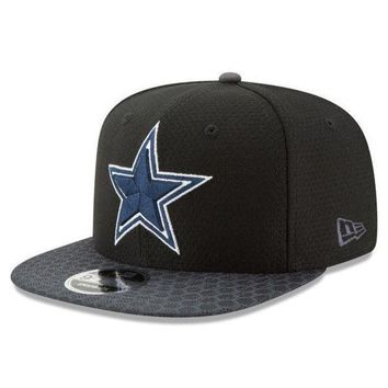 ESBON NFL Dallas Cowboys New Era Black 2017 Sideline 9FIFTY Snapback Hat
