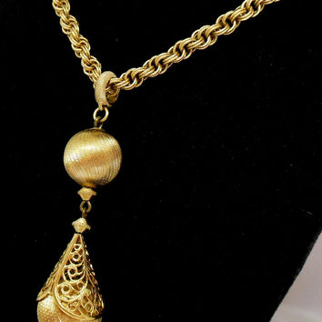 "Vintage Monet Necklace  ""Bolero"" Gold Ball Dangle with Filigree"