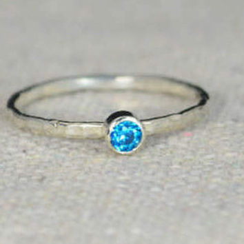 Classic Sterling Silver Blue Zircon Ring, 3mm Silver solitaire, Blue Ring, Silver jewelry, December Birthstone, Mothers RIng, Silver band