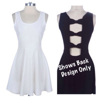 Spring Delight Open Back Bow Link Solid White Sleeveless Tank Mini Dress