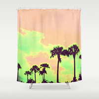 On Sunset Shower Curtain by Bunhugger Design