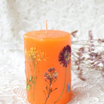 Scented Floral candle,Real Dried Flowers Candle,Aromatherapy,Herbal Flower wedding candles,wax centerpiece,bridal candles,tea light candle