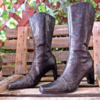 Antonio Melani Western boots  7 M / bronze / black tooled leather / high heel cowgirl boots
