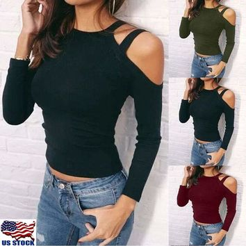 Women's Sexy Halter Cold Shoulder Slim Fit Long Sleeve Tee Tops Blouse Shirt USA