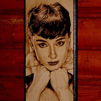 Audrey Hepburn woodburned art