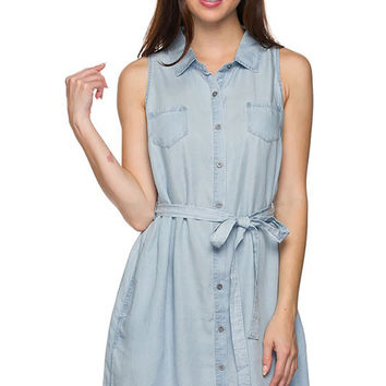 Sleeveless Casual Button Down Belted Mini Tunic Shirt Dress