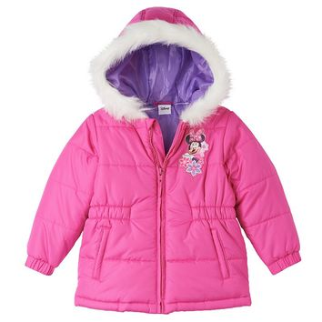Disney's Minnie Mouse Floral Hooded Puffer Jacket - Toddler Girl, Size: