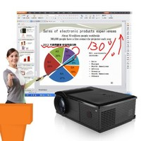 Excelvan® 2800 Lumen 1080P Multimedia Interactive Whiteboard Technology LCD Home Theater Projector for School Training Teaching with built-in Speakers