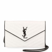 Saint Laurent Monogram Matelassé Two-Tone Wallet on a Chain
