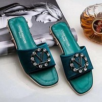 Louis Vuitton LV Fashion Ladies Personality Rhinestone Diamond Slipper Sandals Shoes Green I