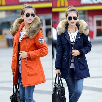 new 2014 women winter coat wadded jacket medium-long plus size 4XL Parka fur collar thickening hood abrigos female snow wear = 1931673476