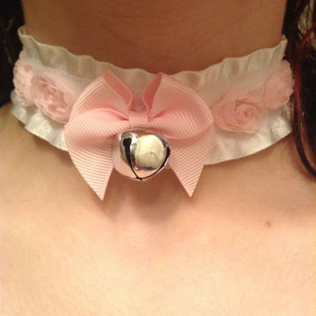 Pastel Pink & White Bell Floral Adjustable Play Collar choker kitten pet play gear bdsm ddlg lolita silver gold custom rose kawaii ribbon