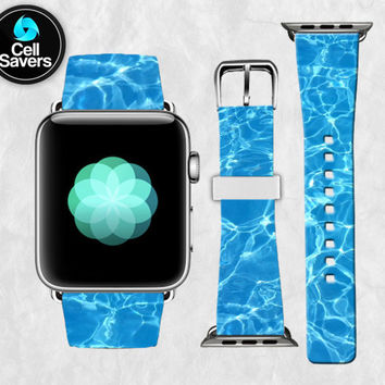 Blue Pool Water Aqua Summer Water Cute New Apple Watch Band Leather Strap iWatch for 42mm and 38mm Size Metal Clasp Watch Print