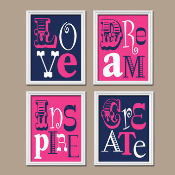 Hot Pink Navy Blue Wall Art Girl Child Canvas Playroom Artwork Love Dream Inspire Create Life Quote Set of 4 Prints Decor Nursery Bedroom