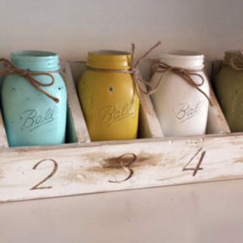 Rustic Shabby Chic Shelf Handmade White Mason Jar Shelf primitive farm house farmhouse style distressed wall decor storage organizer gift
