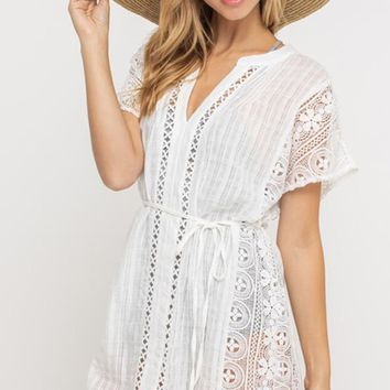 Beach Babe White Short Sleeve V Neck Eyelet Lace Tie Waist Cover Up Casual Mini Dress (Pre-order)