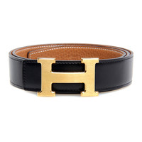 Hermes Belt Box Calf Leather And Togo Leather With Silver Hardware In Orange With Black Colors - $176.00