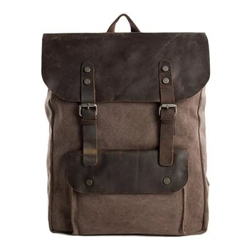 Waxed Canvas and Leather Backpack with Front Pocket - Coffee