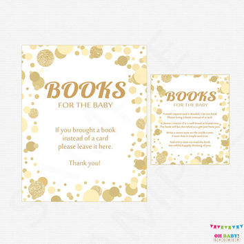 Book Request Baby Shower, Bring a Book Instead of a Card Insert + Sign, Gold Baby Shower, Bring a Book Insert, Download, Printable CB0003-g