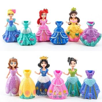 Disney Princess Sofia Elsa Belle Mermaid change clothes 9cm 12pcs/set Action Figure Anime Figurine Toy model for children gift