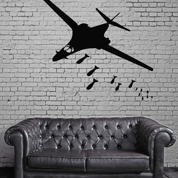 Bombing Flying Jet  Airplane Airforce Mural Wall Art Decor Vinyl Sticker Unique Gift z428