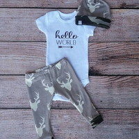 Hello world set / gray deer leggings with matching knot beanie / baby boy going home outfit / hospital outfit / hello world Onesuit