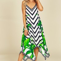 Palm & Striped Print Dress Off White