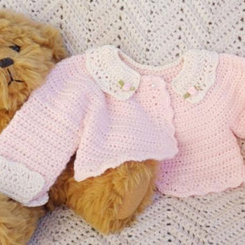 Crocheted Newborn Bolero Sweater Pink Lace Collar Cuffs  0 3mo