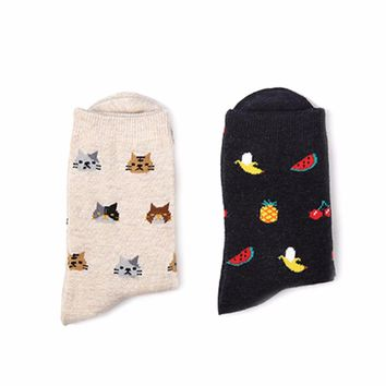 Fruits, Sweets Candy & Cats - Mid-high Socks Funny Crazy Cool Novelty Cute Fun Funky Colorful