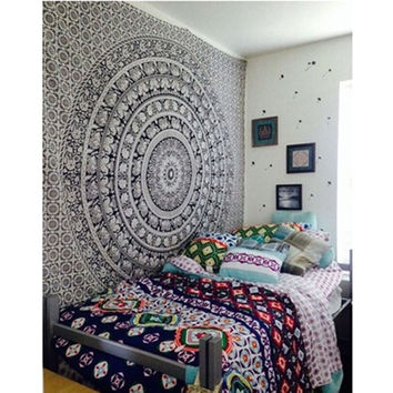 Indian Black And White Elephant Bohemian Rectangular Tapestry Wall Hanging Mandala Bedspread Shawl Ethnic Art JK879787