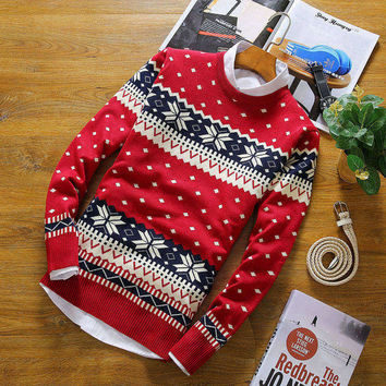2017 USA European Style fashion Man/women Sweater Christmas deer Casual Men's Pullover Hand knitted Slim Fit male Brand sweater