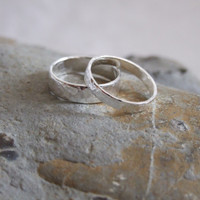 Silver Wedding Bands: A Set of his and hers Sterling silver wedding rings
