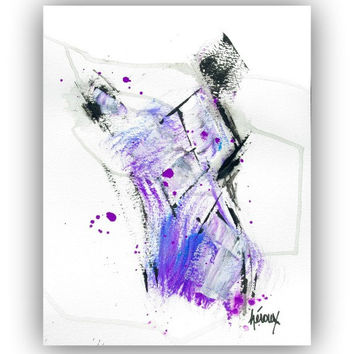 Modern ABSTRACT Art Painting - Purple Abstract Art - Minimalist Art - Purple Wall Art 11x14