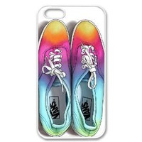 Apple iPhone 4 4G 4S Cute Ombre Rainbow Multicolored Vans Shoes Tie Dye Hipster Retro Vintage WHITE Sides Slim HARD Case Skin Cover Protector Accessory Unique AT&T Sprint Verizon Virgin Mobile in Case Cartel Packaging
