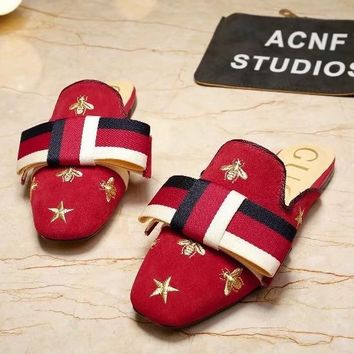 GUCCI Women Bee Embroidery Slipper Sandals Shoes