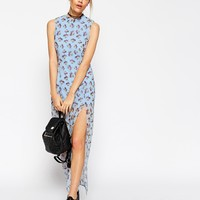 ASOS PETITE Maxi Dress In Pastel Floral With Thigh Split at asos.com